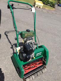 Qualcast Petrol 43s Self Propelled Lawnmower, engine running today, blades sharp.