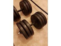 *Cheap 80kg set* Weight plates, spinlock dumbells, barbells. Mix and match to suit you!