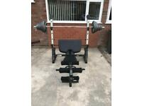 Marcy Olympic Weight Bench with Squat Rack with 130kg of Olympic weights and Olympic bar