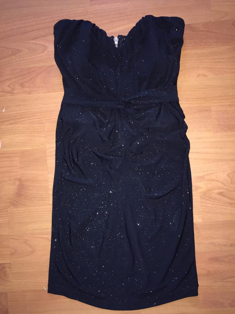 Lipsy Glitter Dress - Size 6 - Black Bodycon