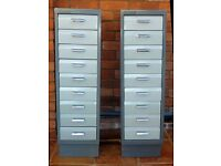 9 drawer two tone grey filing cabinets.