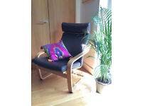 IKEA Poang Brown Leather Armchair