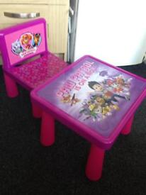 Kids Paw Patrol Table and Chair - Pink