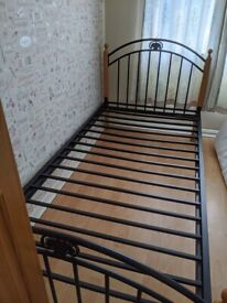 Metal & wooden single bed Frame with mattress