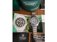 Citizen Royal Marines Commando Super Tough GMT Titanium Watch BJ9140-52E