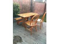 Pine dining table, bench & chairs, bargain free delivery