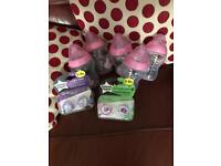 Pink / girls Tommee tippee bottles and dummies