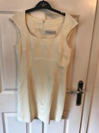 Karen Millen, cream, vintage, sleeveless dress (viscose & linen) dress