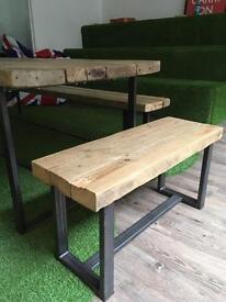 Reclaimed wood industrial bench (small)