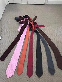 Bundle of men's ties (mainly slim or skinny ties) some silk, all in good condition