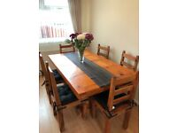 Real wood table and 6 chairs