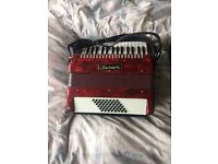 Chanson 48 bass red accordion accordian