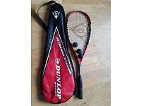 Squash racquet with 3 balls