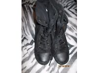 BLACK SUEDE EFFECT LACE UP BOOTS WITH HEEL A BIT LIKE CONVERSE SIZE 8 WORN A FEW TIMES