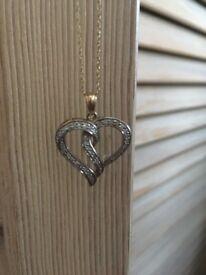 9ct Gold 0.25ct tw Diamond Heart Pendant Neclace