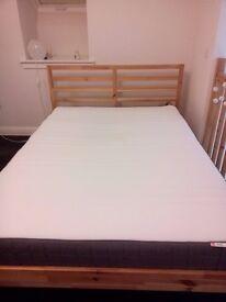 Double bed frame (IKEA, model TARVA) with pocket sprung mattress (IKEA, model: HÖVÅG)