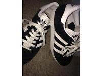 Adidas black and white gazelles