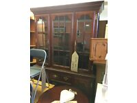 BEAUTIFUL SOLID DARK WOOD WALL UNIT LOVELY CONDITION £120.00