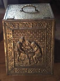Vintage solid brass coal store