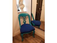 2 antique wooden chairs, turquoise and blue with cushioned seating