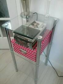 Glass and chrome end tables