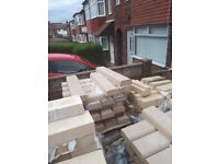 Yellow brag stone blocks an red sand stone coping and spindles