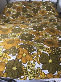 Vintage floral bed cover throw 1960's 1970's