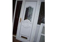 upvc door with gold handles and gold letterbox and country theme nearly new
