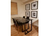 Ikea Glass Top Dining Table with Black Wooden Legs