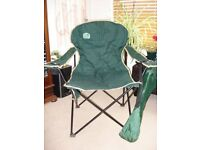 2 Deluxe Camping Chairs, hi-tensile steel frames, great conditon, in carry bags, hunters green
