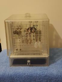 Perspex/Plastic Covered Earring Display Stand and Draw with Job Lot of Earrings