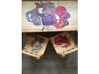 Wooden cars table and chairs kids