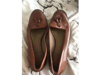 M&S footglove wide-fit tan heeled loafers