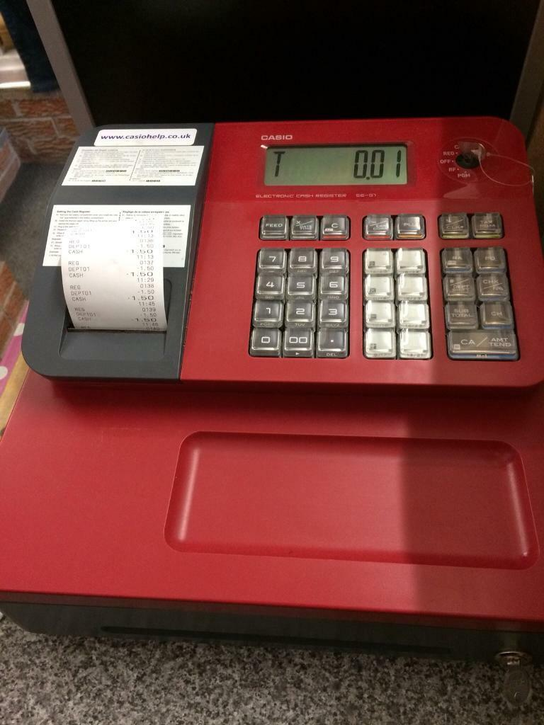 Casio cash register, with 16 rolls, 2 keys, instructions   in  Newcastle-under-Lyme, Staffordshire   Gumtree