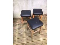 3 x Wooden Stools with black faux leather tops