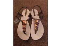 Pair of brand new bronze / cream Ipanema beach sandals. Cost £25!!