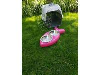 Cat carrier and food/water bowl