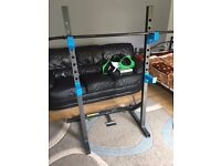 Men's Health Squat Rack & Fly Rack inc Dumbbells - Near new including weight plates and stop locks