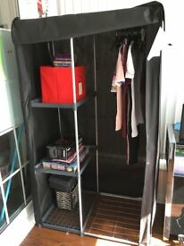 Argos Home Metal and Polycotton Single Wardrobe - Black
