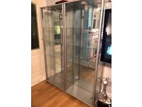 2 mirrored glass display cabinets