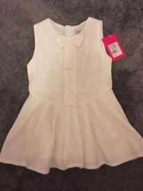 Designer Juniors White Summer Baby Girls Dress 12mth Old Brand New