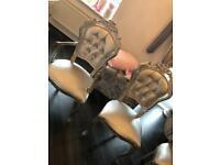 Silver diamanté rococo chairs