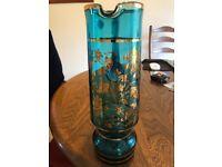 Bohemian Kamenicky Senov Light Blue Carafe/ Pitcher and 6 Glasses Gilded Flowers