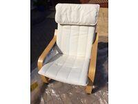 IKEA Poang armchair & cream cover