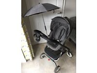 Stokke scoot v1 black melange with soft bag, cosy toes, cup holder, umbrella and rain cover