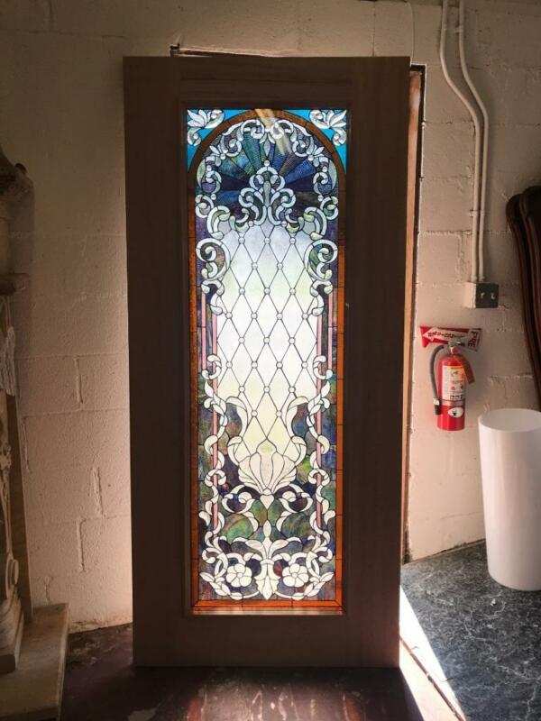 BEAUTIFUL MAHOGANY  STAINED GLASS CUSTOM  ESTATE DOOR - JHL161-2