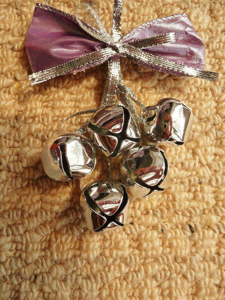 Silver Grey Bells Mauve Bow Christmas Tree Decoration Xmas Tree Ornament