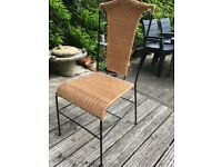 FOUR WICKER & METAL DINING CHAIRS