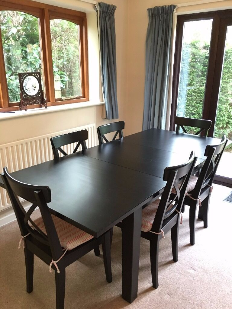 ikea stornas extendable table with 6 ikea ingolf chairs brown black in haslemere surrey. Black Bedroom Furniture Sets. Home Design Ideas
