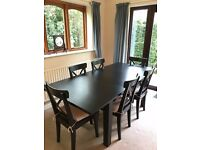 IKEA Stornas Extendable Table with 6 IKEA Ingolf Chairs (brown-black)